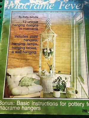 Retro 1977.Macrame Fever-12 Projects.Plant & Wall hangers,Hanging lamps & tables