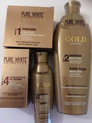 PURE WHITE GOLD GLOWING LOTION 400ml, Soap 150g, Serum 50ml