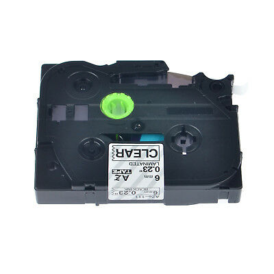 """20PK TZ111 Tze111 Black on Clear Label Tape for Brother P-Touch PT-P750W 1/4"""""""