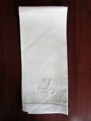 "Monogram ""A"" Huck Linen Hand Towel Rose Damask Corners 24.5 x 14.5"""
