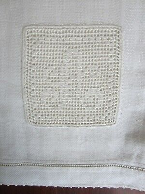 "Monogram ""A"" Huck Linen Hand Towel Stripe Damask 31 x 18"" White Filet Crochet"