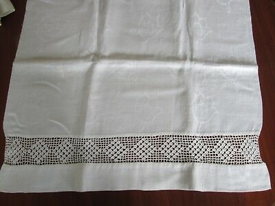 "Antique Huck Linen Towel Large 40 x 21"" Tulip Damask Crochet Insert"
