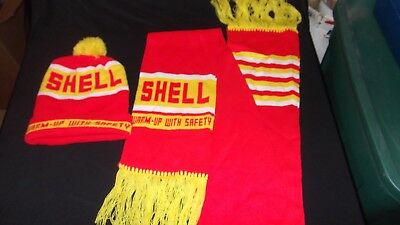 Shell Gas Station Gasoline Beanie Hat & Scarf Vintage Fuel Warm Up With Safety