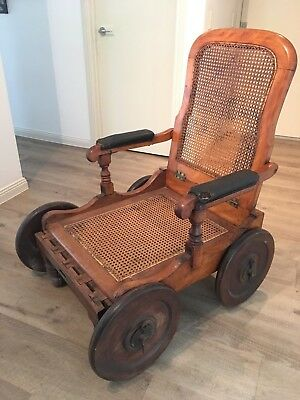 Rare S W Silver and Co Outfitters Antique Colonial Campaign Chair with Wheels
