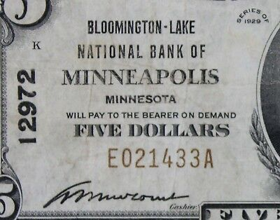 $5 1929 brown seal National Currency Bloomington-Lake MN charter 12972 FREE SHIP