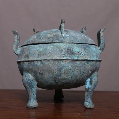 100% Old Chinese Antique Han Dynasty Bronze Tripod Vessel Ding Green Glaze HB35