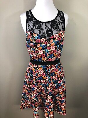 Material Girl Sundress Size Medium Black Lace Blue Pink Floral Mini Party