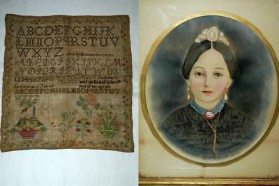 Vintage Antique Mary Snelbaker Hayes Ohio 1839 Alphabet Sampler Painting & Shawl