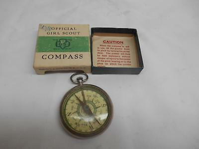 Old Vtg OFFICIAL GIRL SCOUTS COMPASS w/ BOX U.S. Gauge Co. N.Y. Advertising GSA