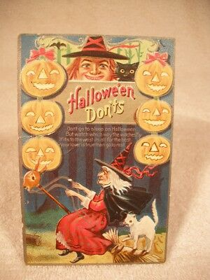 vintage German made Halloween witch and cat postcard unused and nice my card # 9