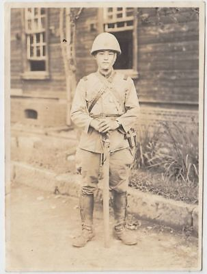 p17 WWⅡ Japanese army Photo soldier with Cover helmet and  sword in China