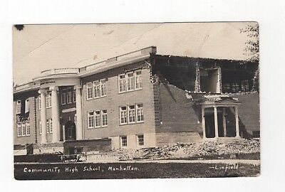 Manchester Kansas, Community High school, real photo  (632