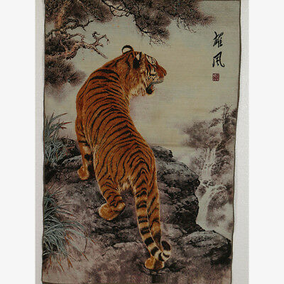 Tibet Collectable Silk Hand Painted Painting Tiger Thangka RK013