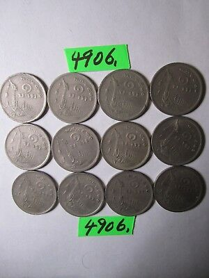 12 x 1 baht culled coins 1977 from Thailand     60   gms      Mar4906