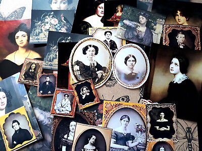28 Vintage Victorian Woman Portraits Die-Cut,Ephemera Scrapbook kit Junk journal