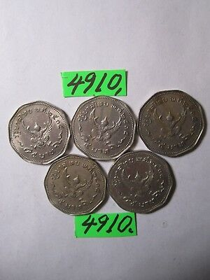 5 x 1 baht culled coins 1972 from Thailand     13   gms      Mar4910