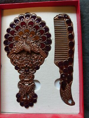 Arabic Peacock Mirror And Comb Set