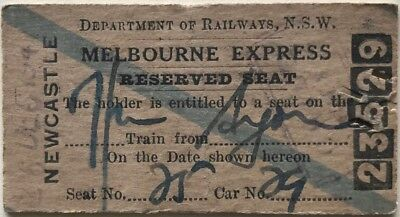 NSWR Ticket - MELBOURNE EXPRESS - Reserved Seat Issued at NEWCASTLE - 1947
