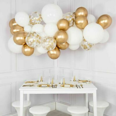 Diy White & Chrome Gold Balloon Garland Kit-Party Decorations-Weddings-2.5M