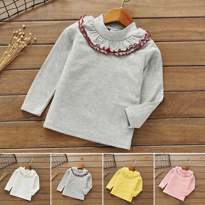 Infant T-shirt Kids Children Solid Color Round Neck Long Sleeve Tops Baby Girls