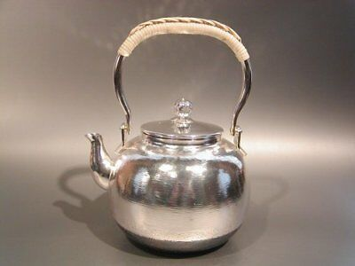 Japanese Antique KANJI old silver bottle Tea Kettle teapot Chagama Hidemine NEW