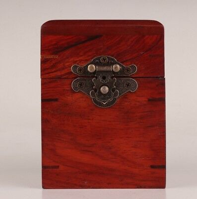 High-Grade Chinese Red Wood Jewelry Box Old Rectangular Bronze Lock Collection