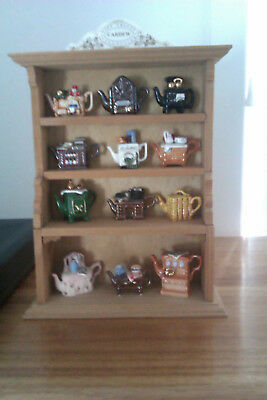 12 Cardew Miniature Teapots With Authentic Wooden Cardew Stand