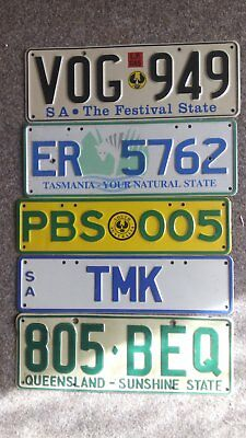 all 5 number plates  tasmania queensland and south australia