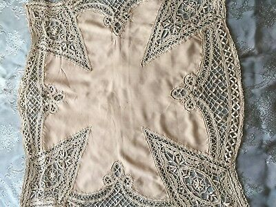 Beautiful Vintage Silk Tablecloth With Handmade Brussels Lace