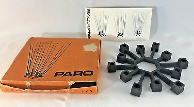 Paro Danish Mid Century Taper Candle Holder Original Box Cast Iron