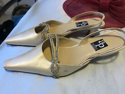 Alan pinkus shoes - Cream Satin With Diamanté Trim Strap And With Leather Soles