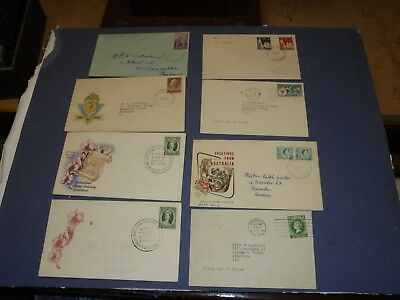 aust pre decimal first day covers 1 with print flaw. '55-60's (8)FREE POST.
