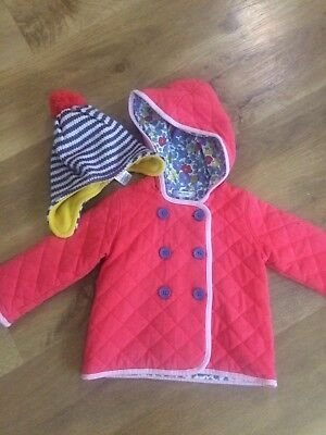 baby girls Mini Boden jacket/coat 18-24 months / With Bobble Hat