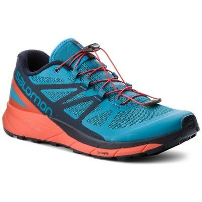 Salomon Sense Ride Scarpa Uomo Corsa Trail Running Shoes Col. Fjord Blue Red 5d0ff79ee7d