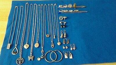 job lot of mixed silver jewllery