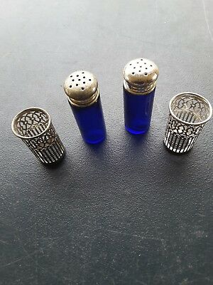 Salt and Pepper shakers  silver plated  TOPS  SLEEVES COBALT  blue glass