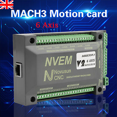 6 Axis NVEM CNC USB MACH3 Ethernet Interface Motion Controller Card Board PWM UK