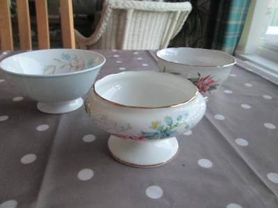 SET OF 3 VINTAGE FLORAL PATTERNED SUGAR BOWLS MADE IN ENGLAND incl SUSIE COOPER