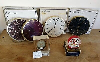 Vintage Clocks. Job Lot of 6. All Boxed. N.O.S. Not Working.