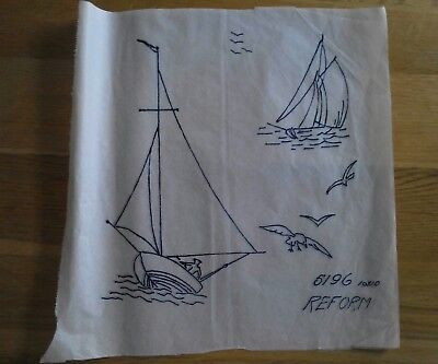 """Vintage Embroidery Transfer: 10"""" x 10"""" for Sailing Boats"""
