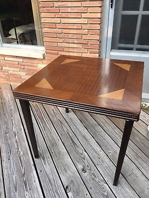 Vintage Wooden Folding Table, Inlaid Wood Table, Card Table