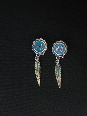 Harley Davidson Turquoise Feather Dangle Post Earrings