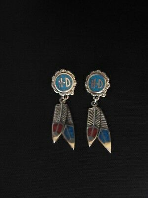Harley Davidson Turquoise Double Feather Dangle Post Earrings
