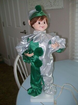 Vintage Telco Jester Holiday Motionette Rare Green & Silver Clown Type Outfit