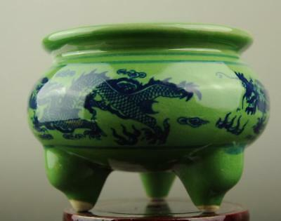 China old hand-made green glaze porcelain dragon pattern three foot censer c02