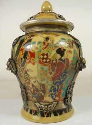 China old porcelain big tea caddy pot jar armored silver lion dragon Phoenix