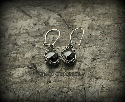 Gotland Earrings Magnetite 10mm Sterling Silver, Natural Magnetite, Gothic