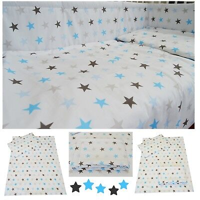 Blue Grey Stars Nursery Baby Boy Cot/ Cot bed/ Toddler Bed Bedding Set Curtains