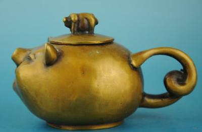 china copper Hand Made statue animal pig antique teapot /qianlong mark