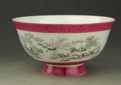 Chinese old hand-made porcelain snow-covered landscape bowl/qianlong mark